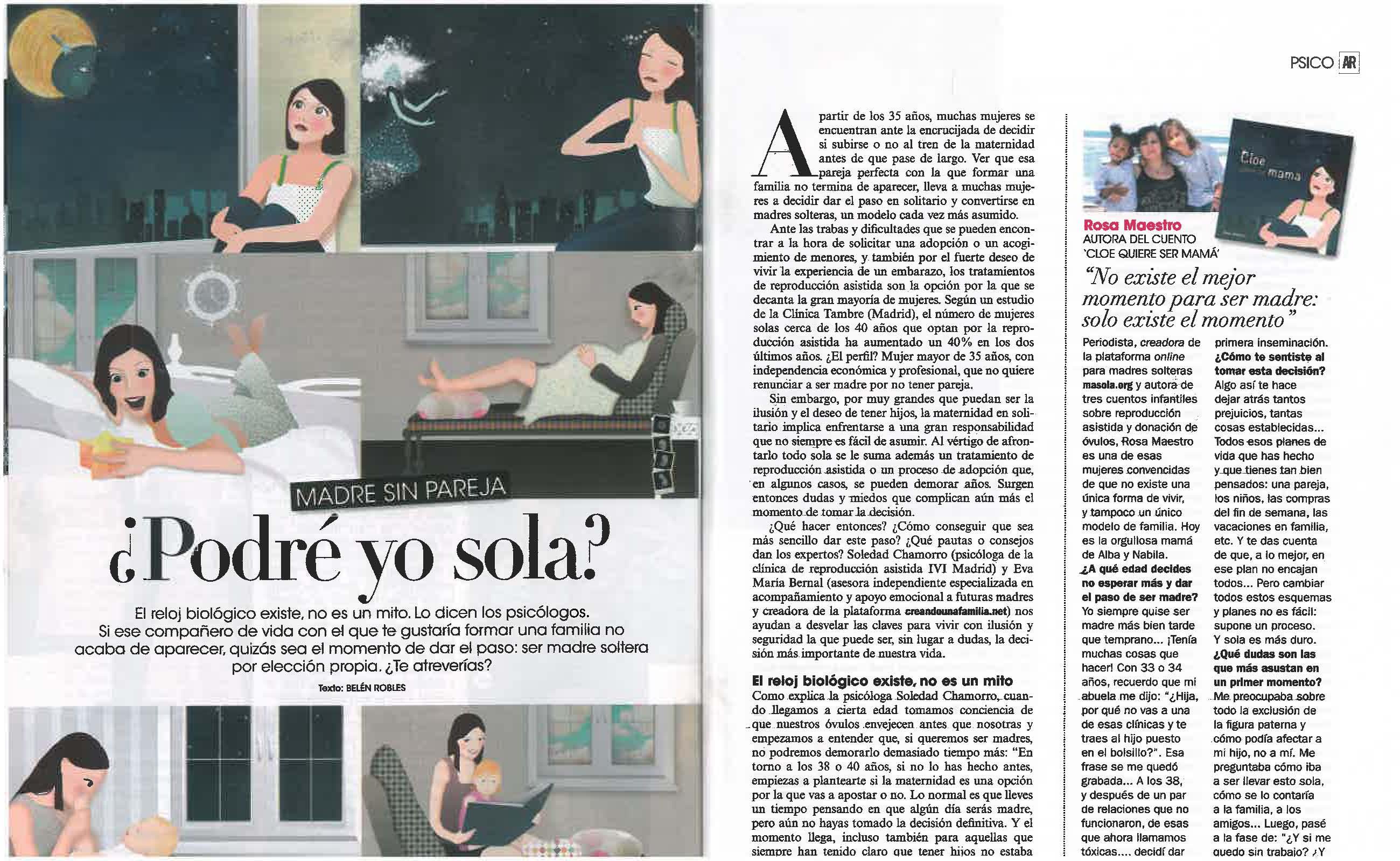 Amplio reportaje en la revista AR sobre maternidad en solitario.