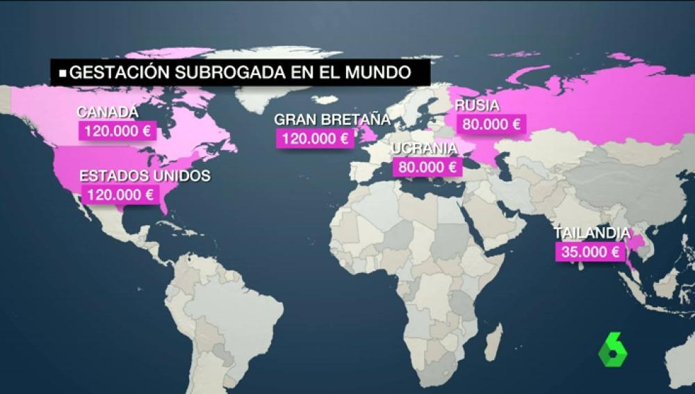Fuente: La Sexta. Precio de un tratamiento de Gestación Subrogada según países.