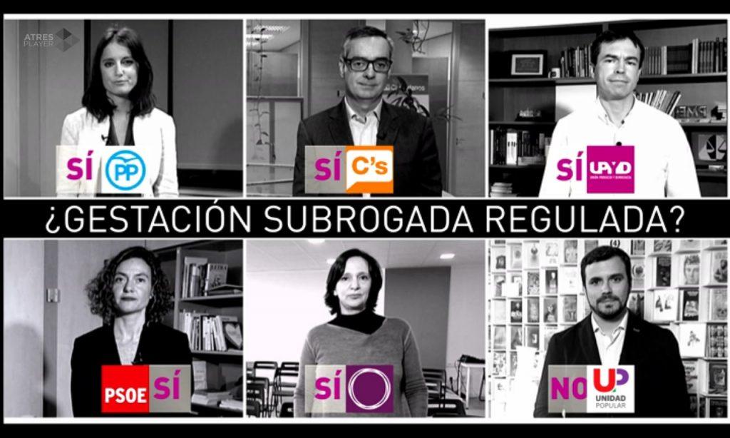 Fuente: La Gaceta. Opiniones de cada uno de los partidos políticos antes de la Proposición No de Ley sobre Gestación Subrogada que Ciudadanos presentó en marzo de 2016